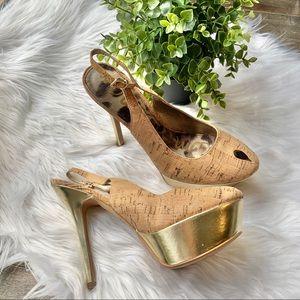 Sam Edelman Novato gold cork heels